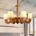 Contemporary Curved Arm Pendant Wood 6 Lights Living Room Chandelier Lamp Fixture with Trapezoid Fabric Shade