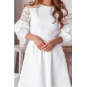 Gorgeous Retro Womens Puff Sleeves Rouond Neck Hollow Lace Crochet Panel Plain Mid Pleated A-Line Dress