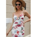 Hot Trendy Ladies White Sleeveless All Over Flower Printed Midi Sheath Cami Dress