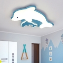 Dolphin Acrylic Flush Mount Light Fixture Contemporary LED Grey/Pink/Blue Finish Ceiling Lighting for Bedroom