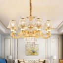 Gold 3-Tier Hanging Chandelier Modernist Crystal Block 6/8-Light Restaurant Pendant Lamp Fixture with Cone Shade