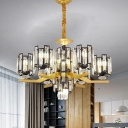 4/7 Heads Cylinder Ceiling Chandelier Modernist Black and Gold Crystal Block Suspension Lamp