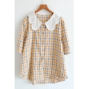 Gorgeous Lovely Womens Three-Quarter Sleeve Lace Peter Pan Collar Button Up Plaid Printed Relaxed Blouse