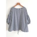 Popular Womens Three-Quarter Sleeve Round Neck Checker Print Drawstring Hem Loose Shirt in Navy