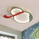 Gourd Flush Mount Ceiling Fixture Modernist Acrylic Black/Green/Yellow LED Flush Light with Red Belt for Bedroom