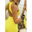 Formal Ladies Sleeveless Crew Neck Open Back Solid Color Knitted Short Tight Dress