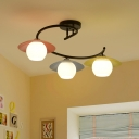 Nordic 3-Light Semi Mount Lighting Red-Yellow-Blue Saucer Flush Ceiling Light with Orb Milk Glass Shade and Twisted Arm