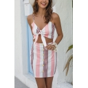 Sexy Girls Sleeveless Bow Tie Front Stripe Print Fit Crop Cami & Button Down Mini Fitted Skirt Co-Ords in Pink and White