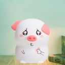 Cartoon Cute Pig Shaped Night Light Silica Gel LED Bedroom Night Lamp in White and Pink