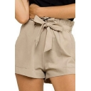 Chic Stylish Womens Bow Tie Waist Solid Color Relaxed Shorts