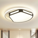Black-White Trapezoid Flush Light Modernism Iron 16/19.5 Inch Wide LED Ceiling Mount Lamp with Round/Square Glow Frame