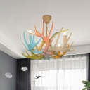Antler Shape Ceiling Chandelier Macaron Resin 4/6 Bulbs Blue-Pink-Yellow Pendant Light