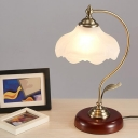 Scalloped Living Room Table Lamp Antiqued White Glass 1 Bulb Brass Night Light with Gooseneck Stand