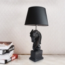 Horse Sculpture Resin Night Light Rustic 1 Bulb Bedroom Table Lamp with Conic Shade in Black/White