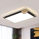 Acrylic Rectangular Flush Lighting Minimalist LED Ceiling Mounted Fixture in Black