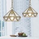 Brass Diamond Pendant Lighting Vintage Clear Glass 1 Head Dining Table Suspension Lamp