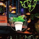Black Round/Flower Frame Pendant Lighting Country Style Iron 1 Bulb Bistro Suspension Lamp with Bucket Planter