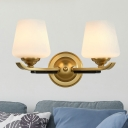 Tapered Milk Glass Wall Lighting Vintage 1/2-Head Lobby Sconce Light Fixture in Brass
