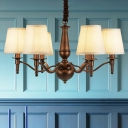 White 3/6 Bulbs Pendulum Light Farmhouse Fabric Barrel Shape Ceiling Chandelier over Dining Table