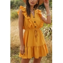 Glamorous Ladies Solid Color Sleeveless V-Neck Button Up Ruffled Trim Drawstring Waist Short Pleated A-Line Dress