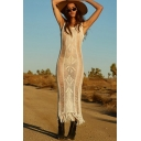 Sexy Pretty Womens Sleeveless Round Neck Solid Color Hollow Out Knitted See-Through Tassel Long Fitted Beach Dress