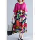 Fashion Vintage Rose Red Half Sleeve Round Neck Floral Print Linen and Cotton Maxi Pleated Oversize Dress