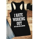 Daily Girls Sleeveless Scoop Neck Letter I HATE WORKING OUT Print Racer Back Regular Fitted Tank Top