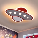 Airship Kids Room Ceiling Mounted Fixture Acrylic LED Cartoon Flushmount Lighting in Red, Warm/White Light