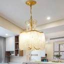 Tassel Living Room Hanging Light Kit Modern Crystal Beads 3-Head Gold Finish Ceiling Chandelier