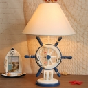 Wood Marine Rudder Table Lighting Kids Style Single Blue Night Lamp with Wide Cone Shade