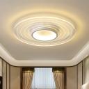 Disk Flush Mount Lighting Modern Acrylic LED White Flush Lamp Fixture in Warm/White Light for Bedroom, 16.5