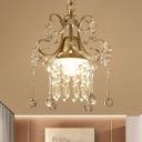 1-Light Crystal Drip Drop Pendant Antique Gold Bell Dining Table Ceiling Hanging Light with Swirl Arm
