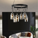 Industrial Jar Shape Ceiling Chandelier 6 Bulbs Clear Glass Pendulum Light in Black with Ring Design