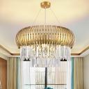 Beveled Crystal Gold Pendant Light 2 Tiers 8 Lights Antique Chandelier Lighting Fixture