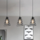 3-Bulb Spiral Cage Multi Ceiling Light Industrial Black Finish Iron Hanging Lamp Kit with Round/Linear Canopy