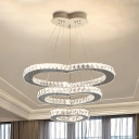 Minimalism Multi Heart Ceiling Light LED Cut Crystal Chandelier in Chrome for Dining Room
