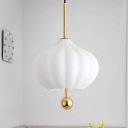 Pumpkin Coffee House Pendant White Glass 1-Light Modernist Hanging Ceiling Light with Brass Modo Deco