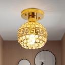 Inserted Crystal Gold Ceiling Light Global 1 Head Modern Semi Flush Mount Lighting