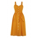 Girls Amazing Polka Dot Printed Pockets Sides Button down Mid Pleated A-Line Cami Dress