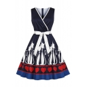 Womens Cat Heart Printed Bow Tie Waist Contrasted Sleeveless Surplice Neck Vintage Mid Pleated Swing Dress in Navy