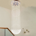 10 Lights Ceiling Lamp Modernism Multifaceted Crystal Sphere Flush Mount Lamp in Silver