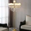 7-Light Candle Floor Lamp Traditional Gold Crystal Standing Light with Pleated Lampshade