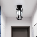 Oval Cage Corridor Flush Lighting Iron 1 Bulb Simple Flush Mounted Lamp Fixture in Black/Gold