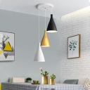 White-Black-Gold Cone Cluster Pendant Light Modernist 3 Lights Metallic Hanging Ceiling Lamp with Round/Linear Canopy