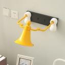 Bell Man Shape Wall Mount Lighting Cartoon Metal 1 Light Yellow Finish Wall Sconce Lamp