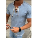 Boys Trendy Cool Short Sleeve Lace Up V-Neck Raw Edge Relaxed Fit Denim Tee in Blue