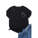 Simple Girls Short Sleeve Crew Neck Letter PEACHY Peach Graphic Relaxed T-Shirt