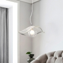 Clear Seeded Glass Jellyfish Pendant Light Kit Minimalist 1-Light Hanging Lamp over Dining Table