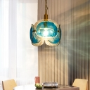 Blue Water Glass 3-Panel Pendant Lighting Modernist 1 Bulb Brass Hanging Lamp with Loop Design
