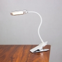 White Clip on Reading Book Light Modernism LED Metallic Task Lamp for Study Room